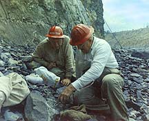 Dr. Charles Milton and Hugh Miser in Jeffery Quarry
